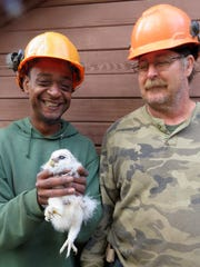 Bill Armstrong Tree Service's Michael Malone, holding the nestling barred owl, and bucket truck operator Ben Pellor.