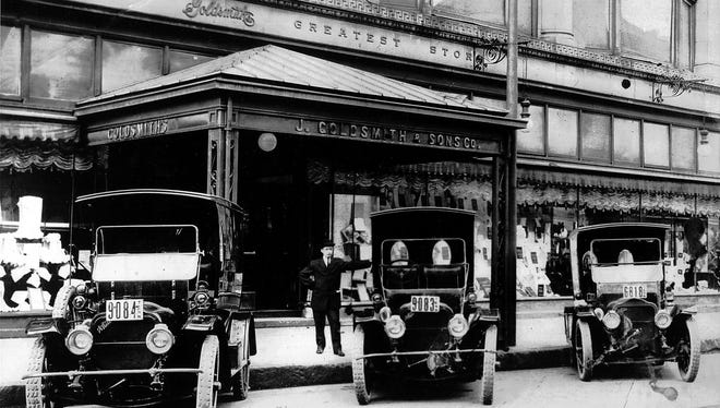 This photo of J. Goldsmith & Sons Co. at 123 Main Street is believed to date from 1910. The panel trucks parked in front of the store were possibly used for delivery. The building had been used by the store since 1902 until its closing in 1990. It was the first store in Memphis to have air conditioning, an escalator and a bargain basement. In 1937, the store introduced the first mechanical credit system in Memphis. Goldsmith's began in a small store at 81 Beale Street by brothers Isaac and Jacob Goldsmith in 1870. Their first customer bought two spools of thread and every Christmas thereafter, they remembered her with a gift. The gross that first day was $25.