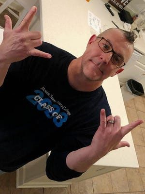 Dr. Jason N. Adsit, president of Mount Saint Mary College, got a mohawk haircut on April 4 to reward the Mount community for rising more than $25,000 in just one day for the college's Student Emergency Fund.