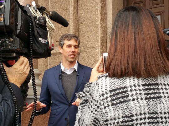 U.S. Rep. Beto O'Rourke met with reporters in Austin
