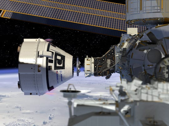 An artist image of the Boeing CST-100 Starliner spacecraft docking to the International Space Station.