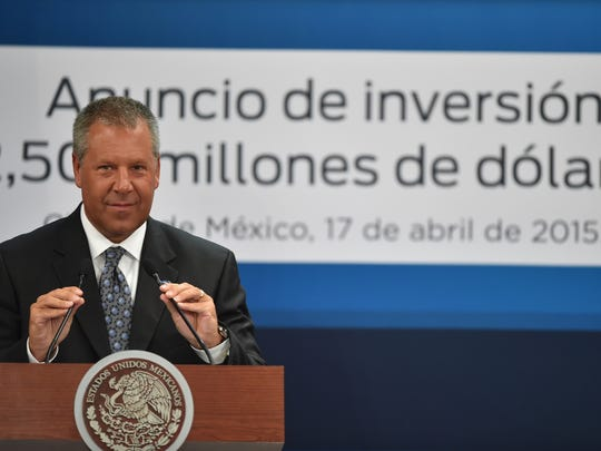 The president for the Americas of Ford Motor Company, Joseph Hinrichs smiles while speaking at Los Pinos presidential palace in Mexico City on April 17, 2015. The Ford Motor Company announced a $2.5 billion plan to expand factories in Mexico to make next-generation engines and transmissions.