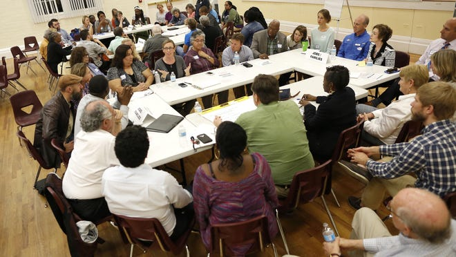More than 100 community members attend a Gainesville For All meeting at the Thelma Bolton Center in 2016.