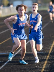 In addition to his work in distance, Zane Trace's Cole Clever also ran several relays throughout his career, including this leg of the 400 relay in the 2018 Ross County Meet.