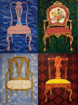 "Lisa Ficarelli-Halpern's ""Dialogue of Four Chairs"" is part of Chairs of Inclusion, a large-scale art project commissioned by the Wae Center of West Orange."