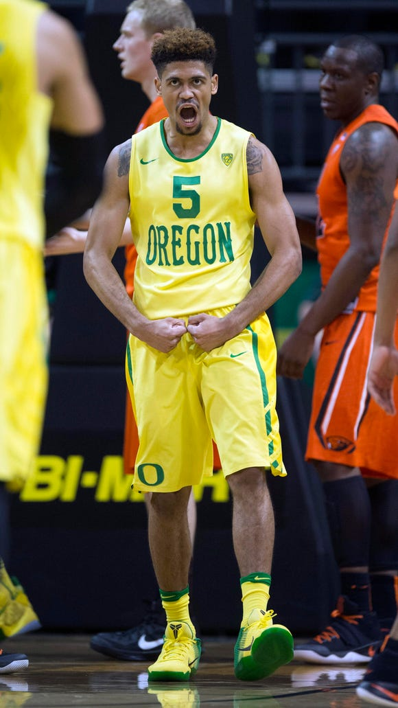 Feb 20, 2016; Eugene, OR, USA; University of Oregon Ducks guard Tyler Dorsey (5) reacts after scoring and picking up a foul during a game against the Oregon State University Beavers during the first half at Matthew Knight Arena. Mandatory Credit: Troy Wayrynen-USA TODAY Sports