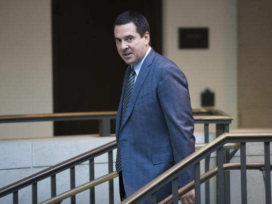 "In this Feb. 27, 2018 file photo, House Intelligence Committee Chairman Devin Nunes, R-Calif., a close ally of President Donald Trump, arrives at the Capitol in Washington. Nunes is suing Twitter and several of its users for more than $250 million, accusing them of defamation and negligence. The suit filed Monday, March 18, 2019, in Virginia accuses Twitter of ""knowingly hosting and monetizing content that is clearly abusive, hateful and defamatory."""