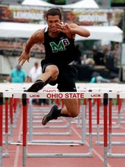 Margaretta's Angelo Frias runs in the 110 meter hurdles Friday, June 1, 2018, during the state track and field championship at Jesse Owens Memorial Stadium in Columbus.