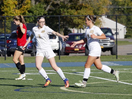Notre Dame's Maddie Watts (7) and Ellie Mustico celebrate