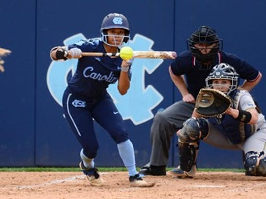 North Carolina outfielder Kiani Ramsey transferred from Texas Tech to North Carolina and currently leads the team in batting average.