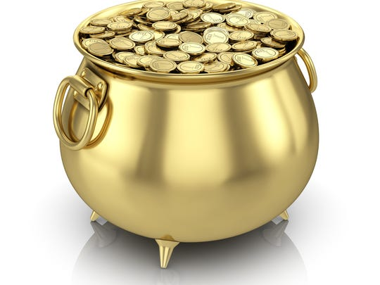A pot of gold coins is worth more than a million dollars