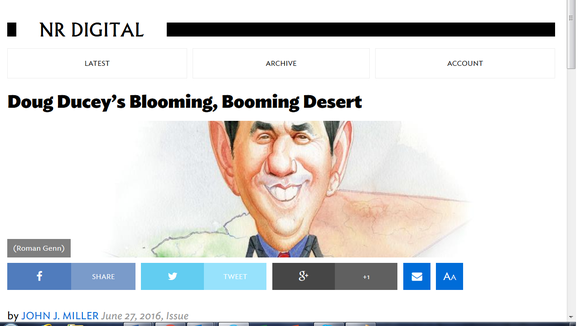 National Review offers a glowing review of Arizona