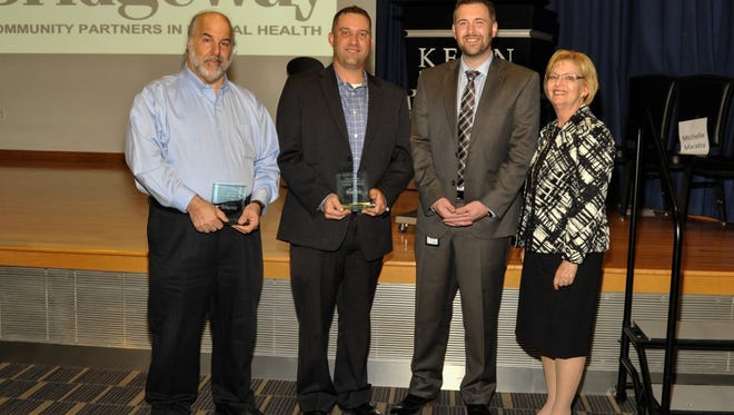 Recipients of the Bridgeway Community Partnership Awards included (from left):  Paul Lavenhar, PLCommunications; Eric Munch and Ryan Schmitt , accepting for Verizon; Paula Avioli, professor, Kean University.