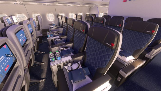 "This image shows what Delta's new ""Delta Premium"" premium economy cabin will look like."