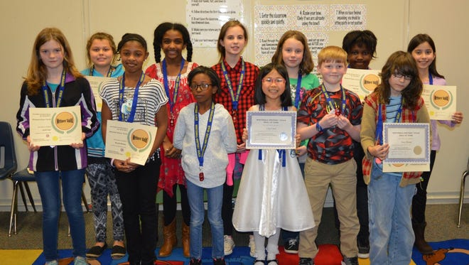 Shown are Whitehall Elementary School Writers Guild students in third through fifth grades, in the front row, are Sarah Hope, Neveah Dawson, Mariah Burriss, Lina Chen, Case White and Isaac Bruner; and back row are Kaila Durbin, Jasmine Haywood, Frances Azelkas, Bailey Roscoe, Jada Fant and Isabella Hardesty.