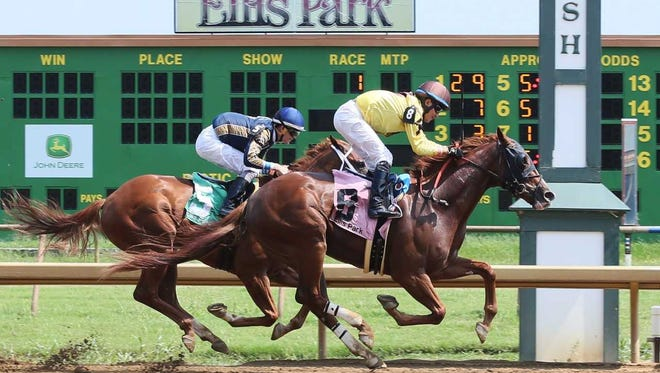 Union Salute (Miguel Mena up) edges Chilling Secret (Brian Hernandez Jr.) to win Ellis Park's first race on closing day.