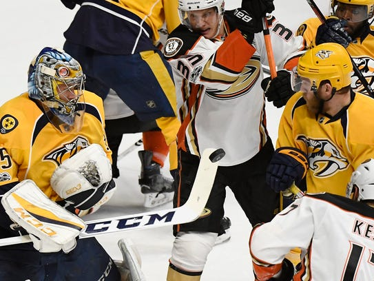 All eyes were on the puck as Nashville Predators goalie