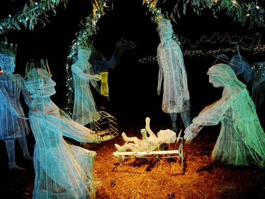 In addition to thousands of lights, The American Rose Center's Christmas in Roseland features other types of displays such as this nativity scene.