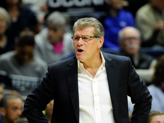 Connecticut head coach Geno Auriemma reacts from the sideline during an NCAA college basketball game against California, Friday, Nov. 17, 2017, in Storrs, Conn.  (AP Photo/Stephen Dunn) Dunn)
