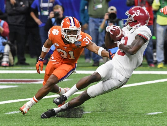 Clemson defensive back Ryan Carter (31) defends Alabama Calvin Ridley(3) during the fourth quarter of the Sugar Bowl on Jan. 1 in New Orleans.