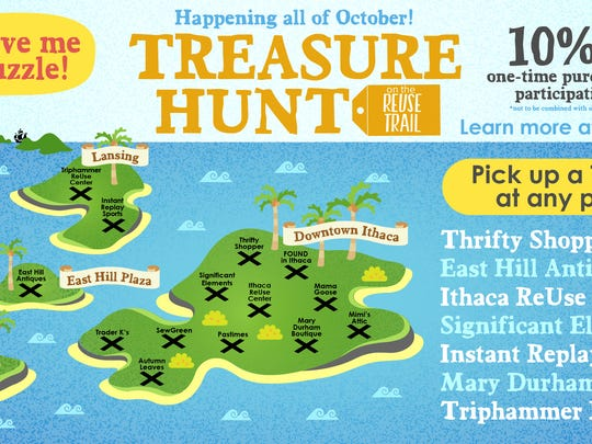 Fourteen stores are participating in the Treasure Hunt on the Reuse Trail.