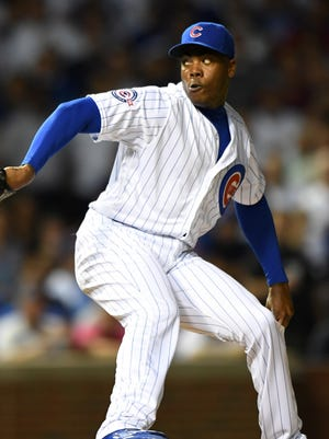 Aroldis Chapman made his first appearance as a Cub.