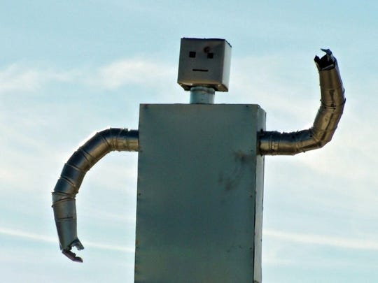 A robot sentry that was created by Zaq Lansberg on the land he purchased in Ten years ago in Box Elder County, Utah.