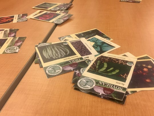 Seed cards illustrate the variety of seeds that will