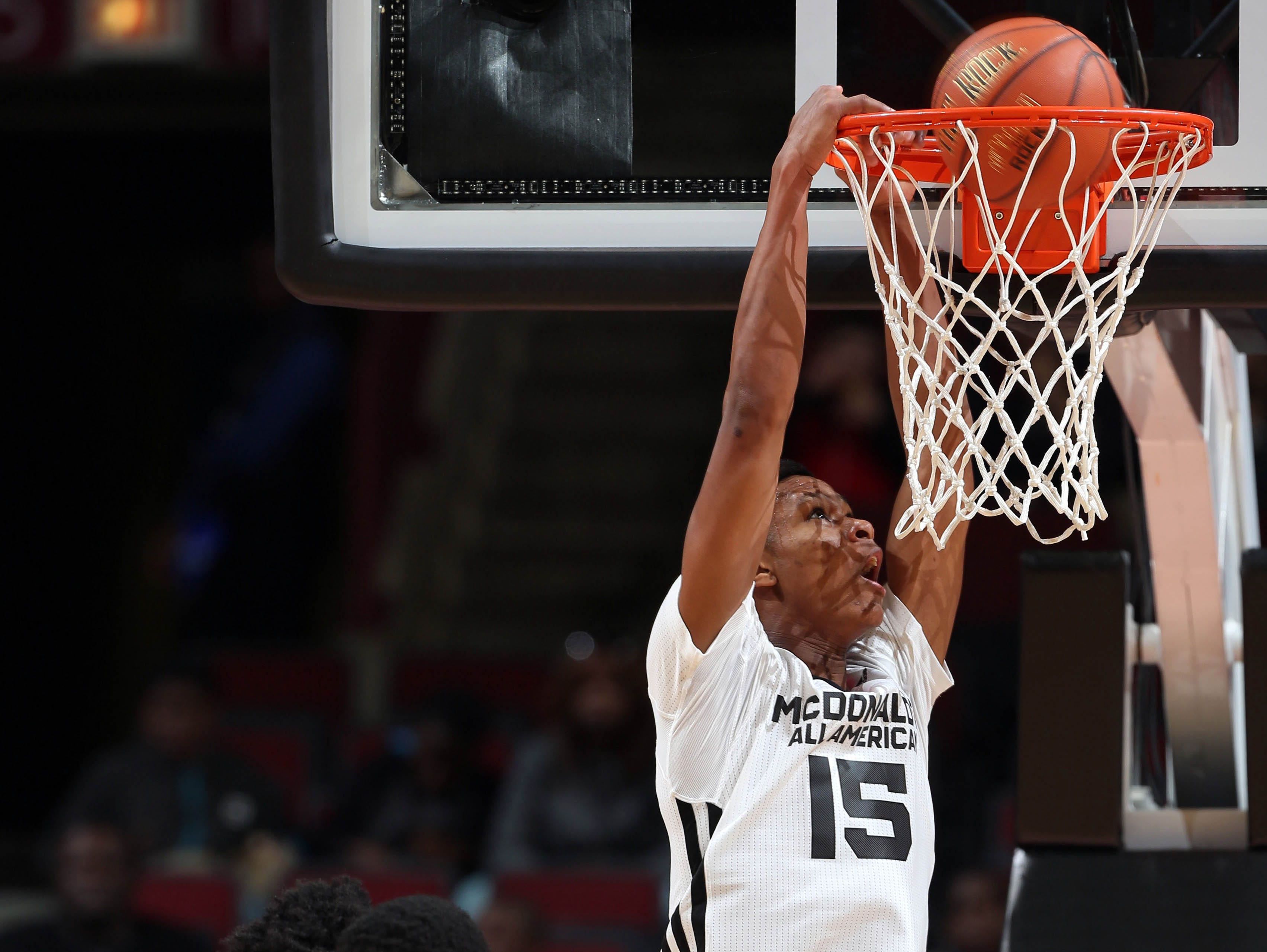 Apr 1, 2015; Chicago, IL, USA; McDonalds High School All American West forward PJ Dozier dunks during the McDonalds High School All American Game at the United Center. Mandatory Credit: Brian Spurlock-USA TODAY Sports