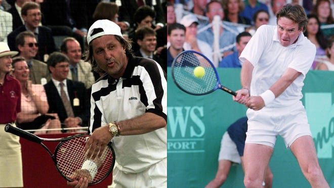 Ilie Nastase, left, and Jimmy Connors changed the way tennis was played in the 1970s.