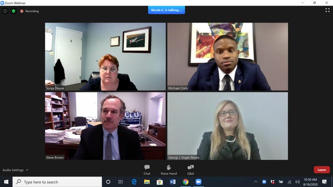 Michael Clark, top right, in a screen shot from a news conference held Tuesday morning on Zoom. At top left is ACLU cooperating attorney Sonja L. Deyoe. At bottom is Rhode Island ACLU Executive Director Steven Brown and ACLU cooperating attorney Georgi J. Vogel-Rosen.