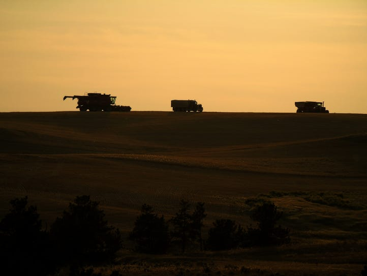 A combine near the Missouri Breaks at harvest north