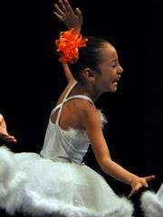 Melanie Torres of the Girls 2 Ballet class feels the