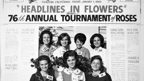 The Rose Queen and her princesses, 1960. Princess Heidi Smith is in the top row, second from right.