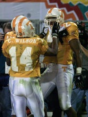 Tennessee fullback Shawn Byson is congratulated after a TD against Florida State in the Fiesta Bowl on Jan. 4, 1999.