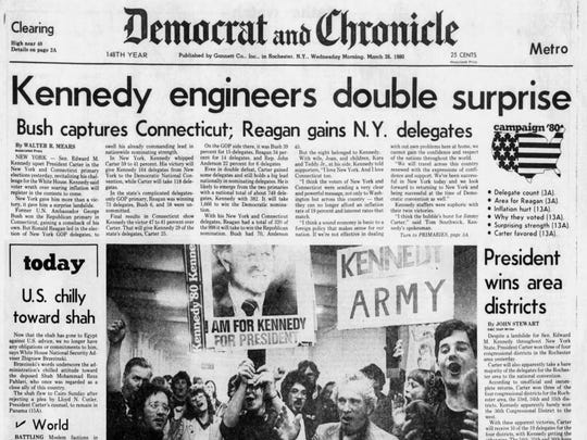 Front page of Democrat & Chronicle after Edward Kennedy's win in 1980 NY presidential primary.