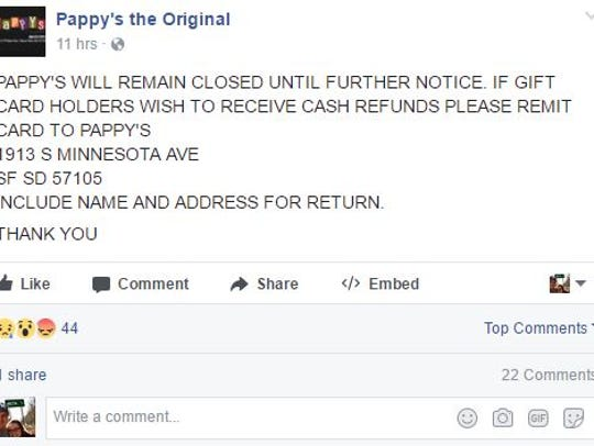 Pappy's Facebook post from late Monday night announcing