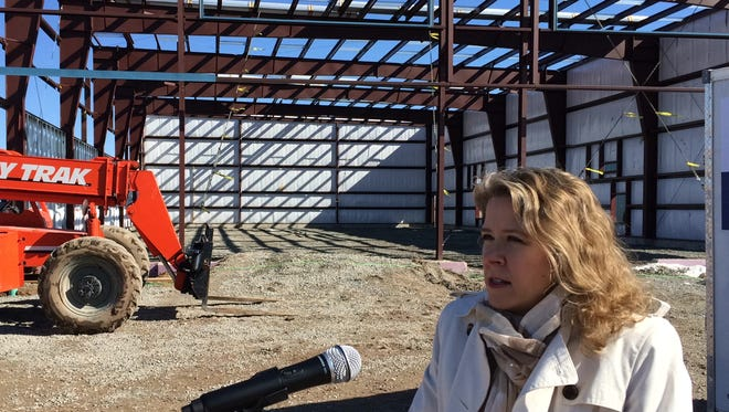 Wisconsin Supreme Court Justice Rebecca Bradley visited a construction site in Hobart on March 28.