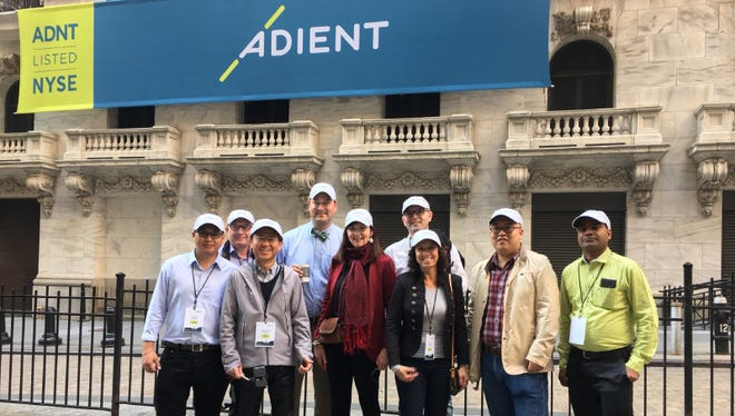 Adient employees from around the world were at the New York Stock Exchange on Monday. Company representatives rang the opening bell to mark the completion of Adient's spinoff from Johnson Controls. The new company has facilities in Plymouth Township.