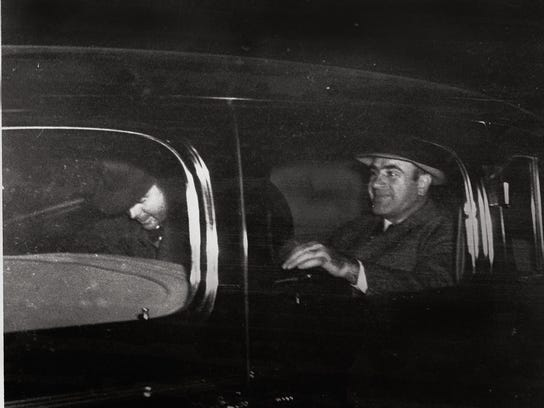 Al Capone leaves Harrisburg, Pa., on Nov. 16, 1939, after being released from prison. A witness, who later refused to be identified, claims he recognized Al Capone with bodyguards, driving through Stuart on March 28, 1930.