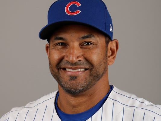 FILE - This Tuesday, Feb. 21, 2017, file photo shows Chicago Cubs bench coach Dave Martinez. A person with knowledge of the deal tells The Associated Press, Sunday, Oct. 29, 2017, that the Washington Nationals and Martinez have agreed to a managerial contract for three years plus an option. (AP Photo/Morry Gash, File)