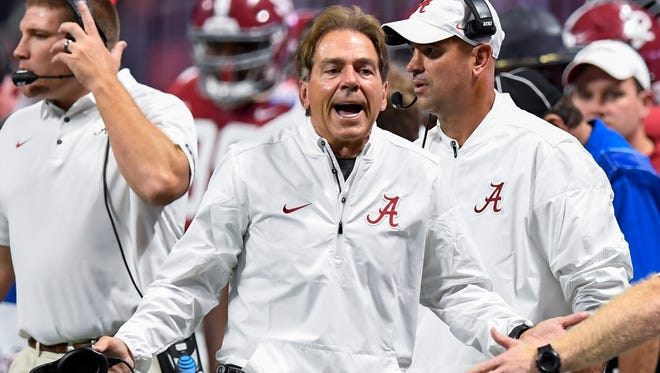 Alabama head coach Nick Saban in the Chick-fil-a Classic at the Mercedes - Benz Stadium in Atlanta, Ga., on Saturday September 2, 2017.