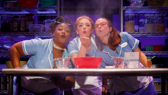 """Charity Angel Dawson (left), Desi Oakley and Lenne Klingaman bond together over pie in the musical """"Waitress."""""""