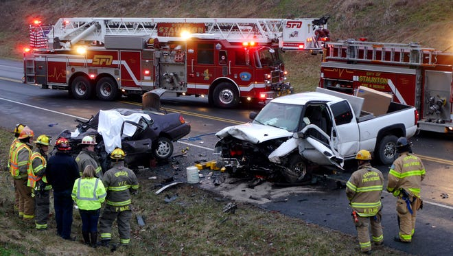 The scene of  a fatal head-on collision between a pickup truck and small sedan on Va. 262 between Churchville Ave and Shutterlee Mill Road Friday, Jan. 8, 2016. A person died at the scene in the small sedan and the driver of the pickup truck was taken to Augusta Medical Center.