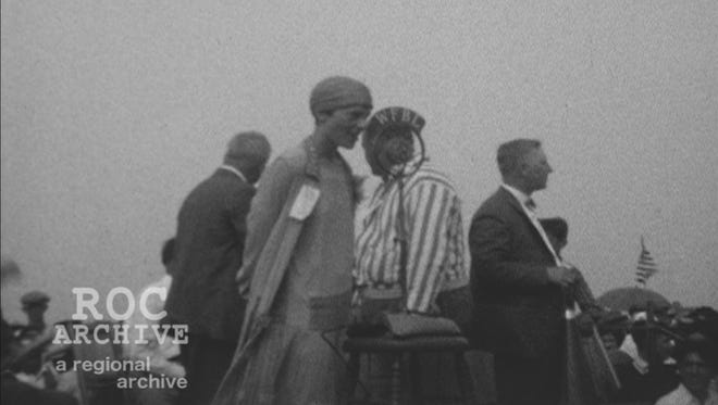 A still from a home video of Amelia Earhart, possibly in Le Roy, provided to ROC Archive.
