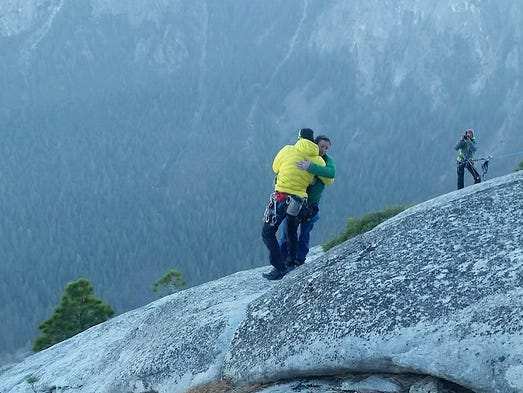 Kevin Jorgeson and partner Tommy Caldwell celebrate