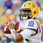 LSU Tigers quarterback Anthony Jennings (10) before a game against the McNeese State Cowboys at Tiger Stadium.