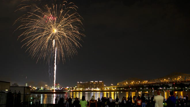 C-J/fileFireworks light up the sky at Louisville's Fourth of July celebration on the waterfront in 2010. Fireworks light up the sky at Louisville's 4th of July celebration down at the waterfront..(By Scott Utterback, The Courier-Journal)July 3, 2010