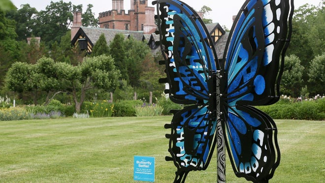 """""""Bipolar Butterfly"""" is one of several sculptures on display by Kimmy Henderson at Stan Hywet. The butterfly's two sides are painted in different patterns ."""