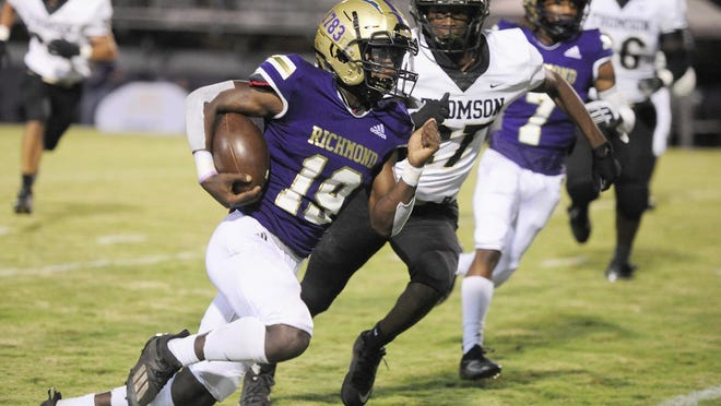 Jontavious Curry of ARC runs for a big gain at the high school football game between Thomson and ARC on October. 16, 2020 in Augusta, Ga.